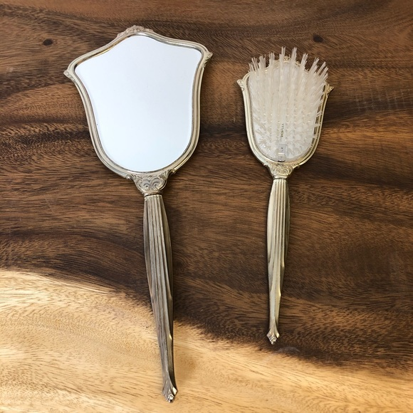 Vintage hand mirror and Brush Set Silver